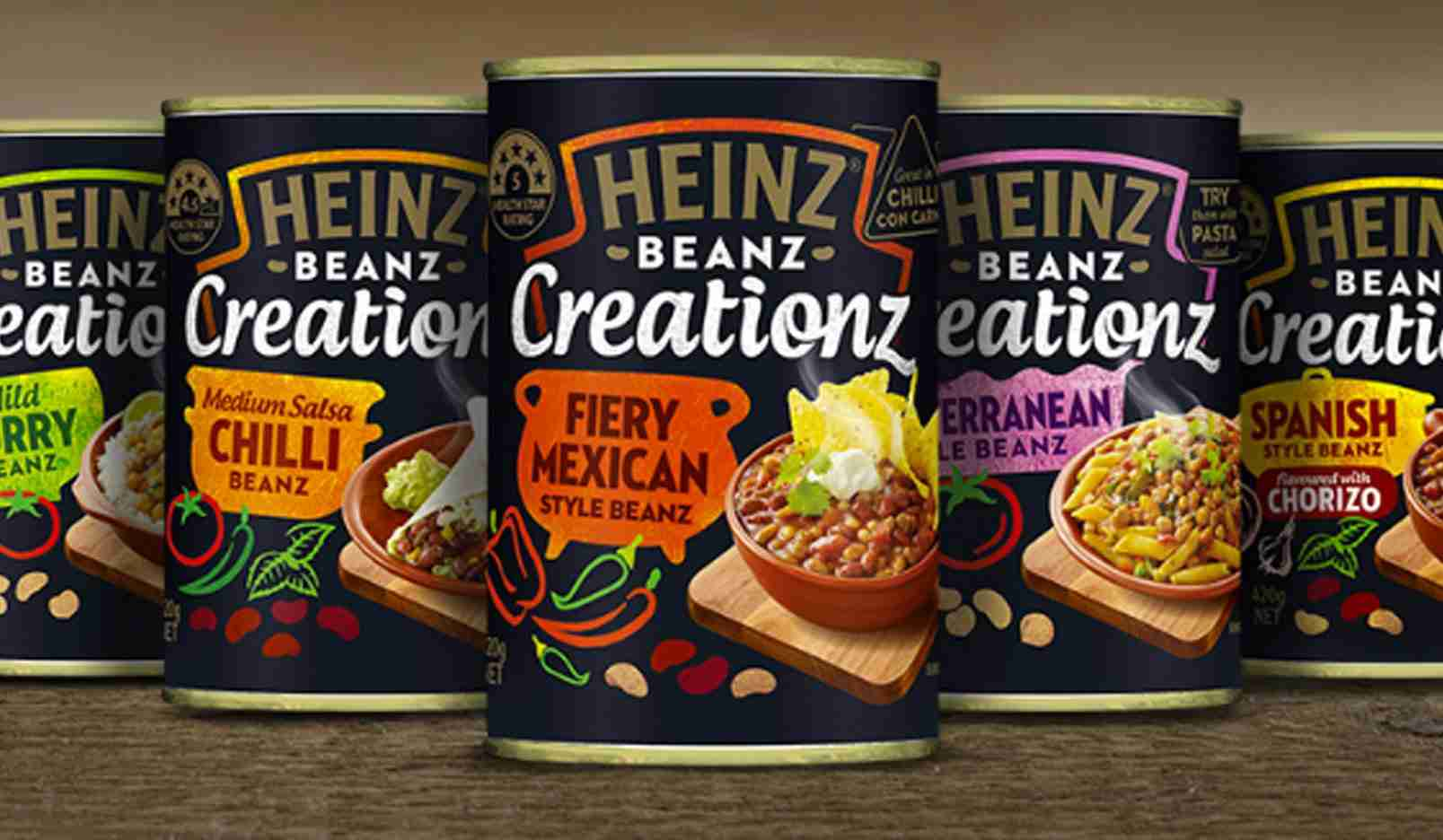 This image shows the new Heinz Beans Cans with their new marketing flavour, depicting the effect on their actual product of their use of Design thinking principles