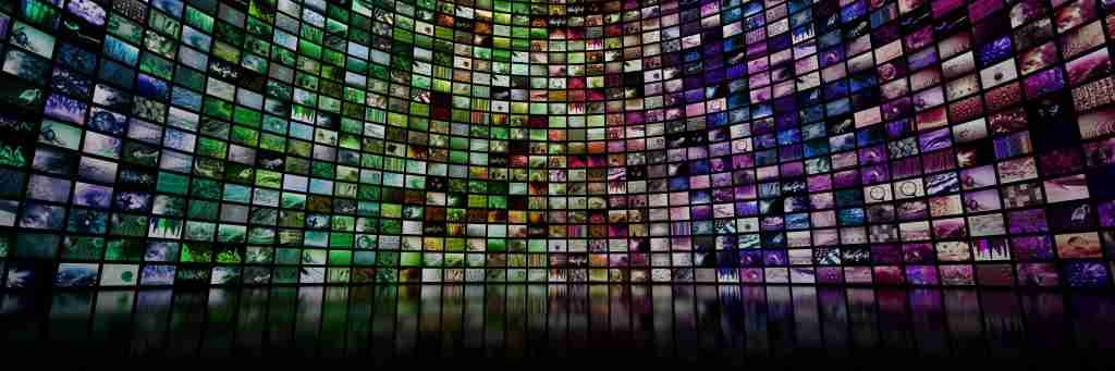 streaming of Colorful giant multimedia video and image wall, representing the digital transformation that is taking place
