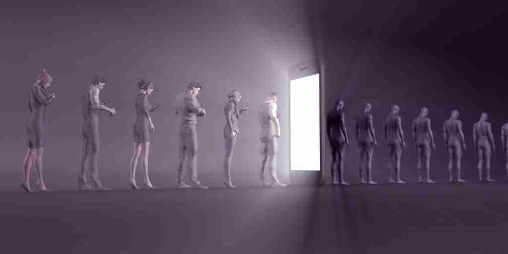 A picture of technological zombies immersed in their mobile phones, emphasising a de-humanised digital experience