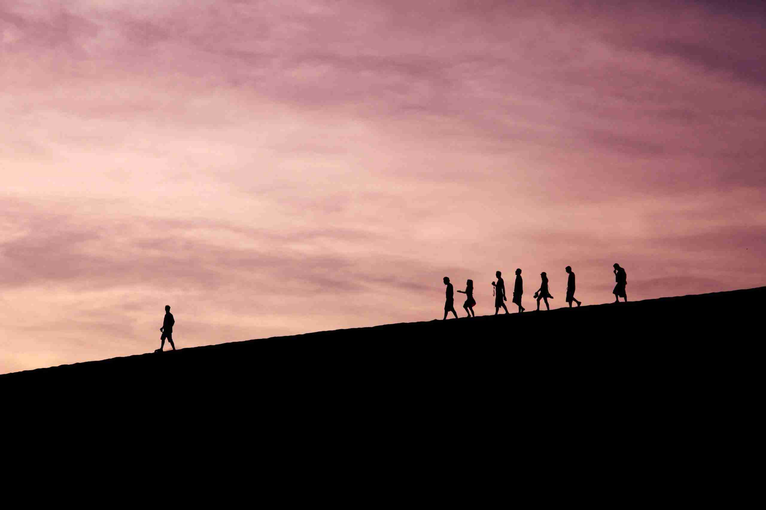 This picture of one person walking in the lead, with a group of people following behind conveys the importance of leadership in both the crafting and implementing of an innovation strategy and culture of innovation